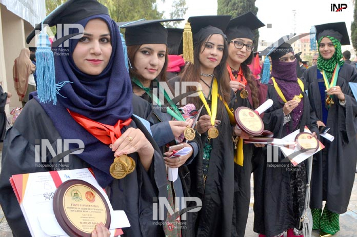 RAWALPINDI: Student pose for photo during 1st Convocation of